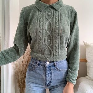 Vintage Alfred Dunner Sage Green Knitted Sweater